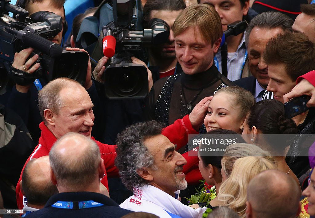 Russian President Vladimir Putin congratulates Yulia Lipnitskaya of Russia after the Team Figure Skating event on day 2 of the Sochi 2014 Winter Olympics at Iceberg Skating Palace at Iceberg Skating Palace on February 9, 2014 in Sochi, Russia.