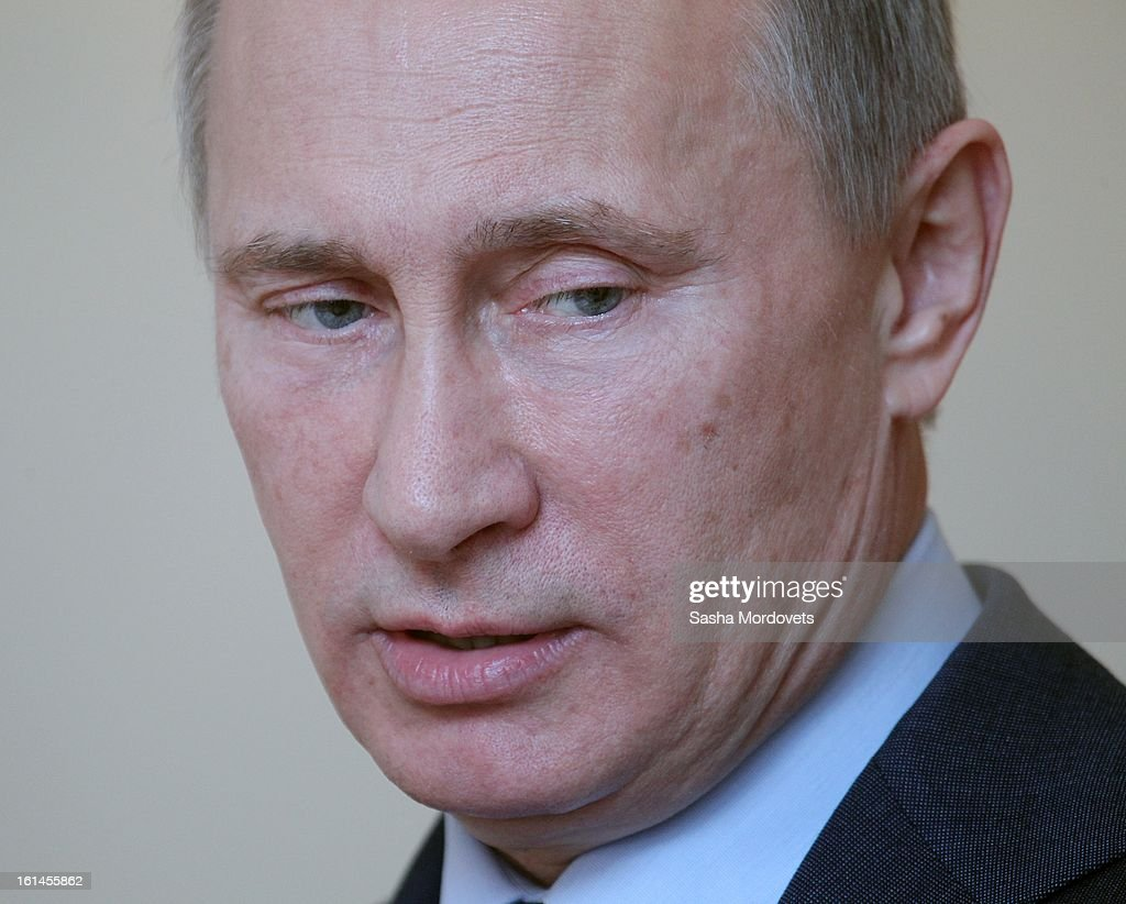 Russian President <a gi-track='captionPersonalityLinkClicked' href=/galleries/search?phrase=Vladimir+Putin&family=editorial&specificpeople=154896 ng-click='$event.stopPropagation()'>Vladimir Putin</a> deleivers a speech during a meeting with ambassadors and Foreign Ministry officials, in his Novo Ogaryovo residence, on February 11, 2013 in Moscow, Russia. The meeting comes a day after Diplomats' Day, the Foreign Ministry's professional holiday, and Putin is due to hand out state awards.