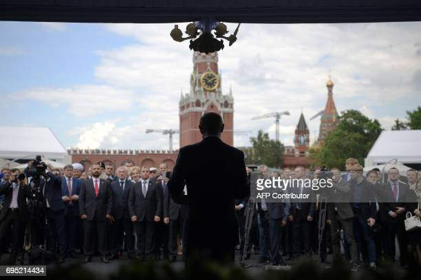 Russian President Vladimir Putin delivers a speech during a holiday reception marking 'Russia Day' in Moscow on June 12 2017 'Russia Day' has been...