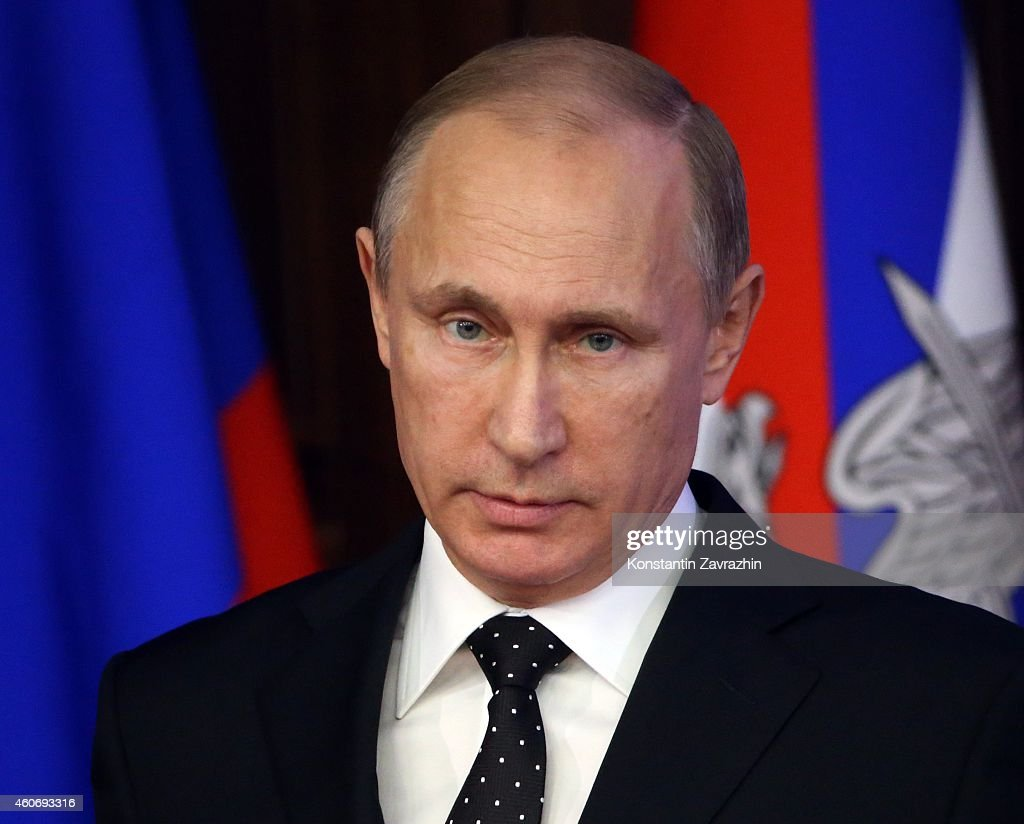 Russian President <a gi-track='captionPersonalityLinkClicked' href=/galleries/search?phrase=Vladimir+Putin&family=editorial&specificpeople=154896 ng-click='$event.stopPropagation()'>Vladimir Putin</a> delivers a speech during a visit to the Defence Ministry's newly built control room on December,19, 2014 in Moscow, Russia. <a gi-track='captionPersonalityLinkClicked' href=/galleries/search?phrase=Vladimir+Putin&family=editorial&specificpeople=154896 ng-click='$event.stopPropagation()'>Vladimir Putin</a> held a meeting with senior military officials in the National Defence Control Center today, to discuss plans to modernize the Russian military, including emphasis on strategic nuclear forces.