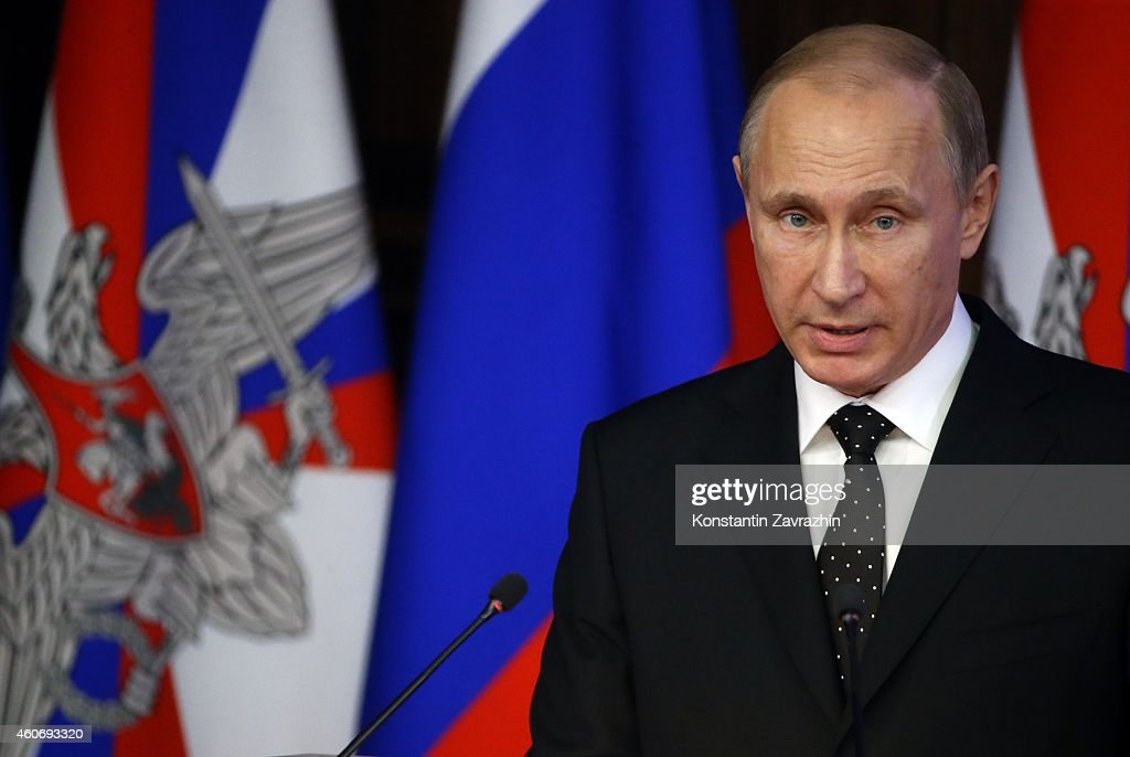 Russian President Vladimir Putin delivers a speech during a visit to the Defence Ministry's newly built control room on December,19, 2014 in Moscow, Russia. Vladimir Putin held a meeting with senior military officials in the National Defence Control Center today, to discuss plans to modernize the Russian military, including emphasis on strategic nuclear forces.