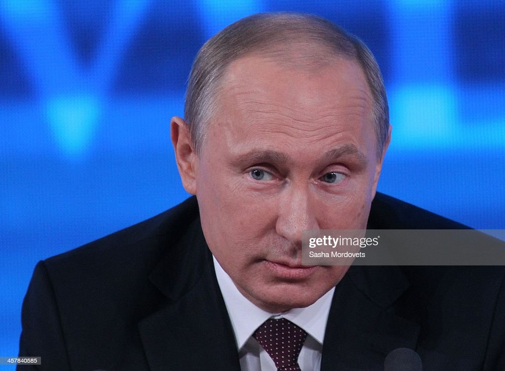 Russian President <a gi-track='captionPersonalityLinkClicked' href=/galleries/search?phrase=Vladimir+Putin&family=editorial&specificpeople=154896 ng-click='$event.stopPropagation()'>Vladimir Putin</a> delivers a speech during his annual press conference on December 19, 2013 in Moscow, Russia. More than 1300 journalists were invited to the press conference, with President Putin adressing various topics such as the 2014 Sochi winter olympics, the Ukraine-Russia gas deal and also of the Greenpeace and Pussy Riot activists.