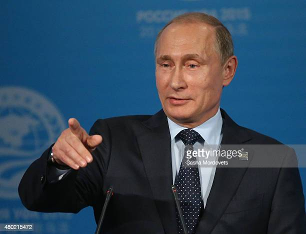 Russian President Vladimir Putin delivers a speech during his press conference during the Shanghai Cooperation Organisation Summit on July 10 2015 in...