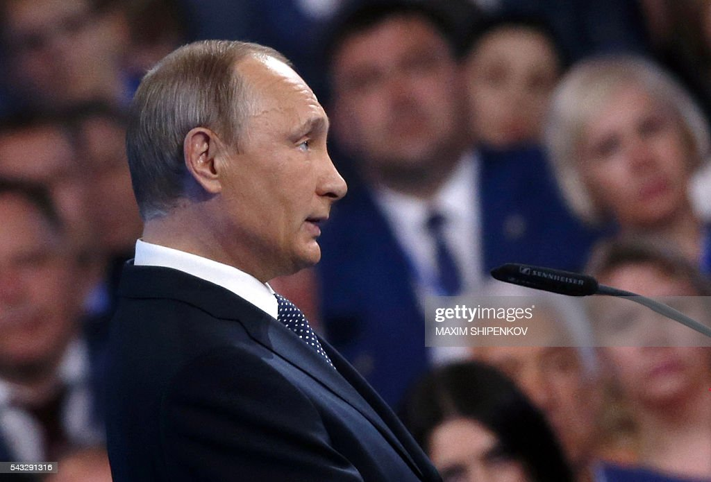 Russian President Vladimir Putin delivers a speech during the 15th Convention of the ruling party United Russia in Moscow on June 27, 2016, ahead of parliamentary elections in September. / AFP / POOL / Maxim Shipenkov