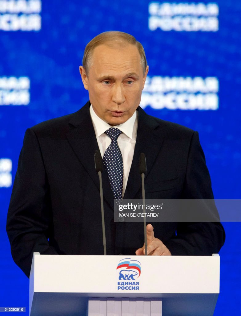 Russian President Vladimir Putin delivers a speech during the 15th Convention of the ruling party United Russia in Moscow on June 27, 2016, ahead of parliamentary elections in September. / AFP / POOL / Ivan Sekretarev