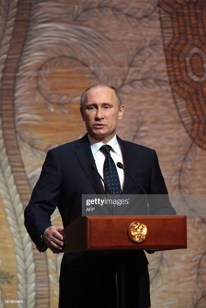 Russian President Vladimir Putin delivers a speech during the Grand gala dedicated to the opening of the new stage Mariinsky II theatre in St. Petersburg, on May 2, 2013. Russia's famous Mariinsky theatre in Saint Petersburg was to inaugurate a new ballet and opera house on May 2 in an event coinciding with the 60th birthday of its hugely ambitious and well-connected director Valery Gergiev.