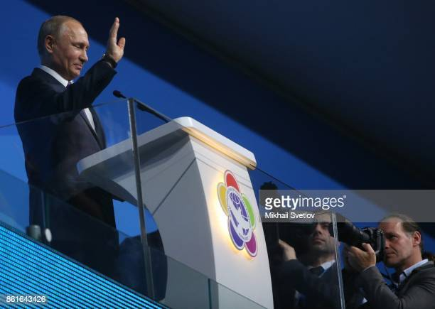 Russian President Vladimir Putin delivers a speech during the opening ceremony of the 19th World Festival of Youth and Students in Sochi Russia...