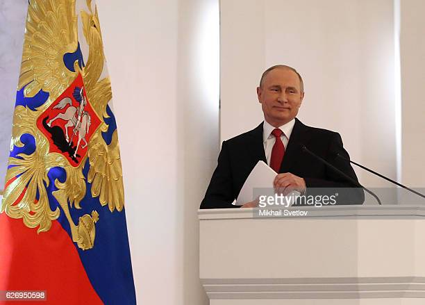 Russian President Vladimir Putin delivers his annual speech to the Federal Assembly at Grand Kremlin Palace on December 2016 in Moscow Russia Putin...