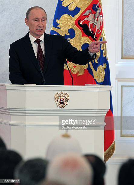 Russian President Vladimir Putin delivers his annual stateofthenation address to State Duma deputies members of parliament and ministers on December...