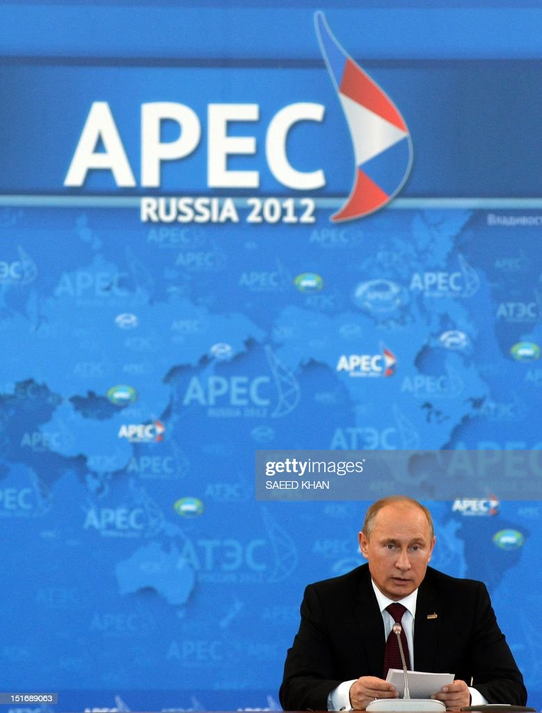 Russian President Vladimir Putin delivers his opening remarks during a round table meeting at the Asia-Pacific Economic Cooperation (APEC) summit in Russia's far eastern port city Vladivostok on September 9, 2012. AFP PHOTO / Saeed Khan