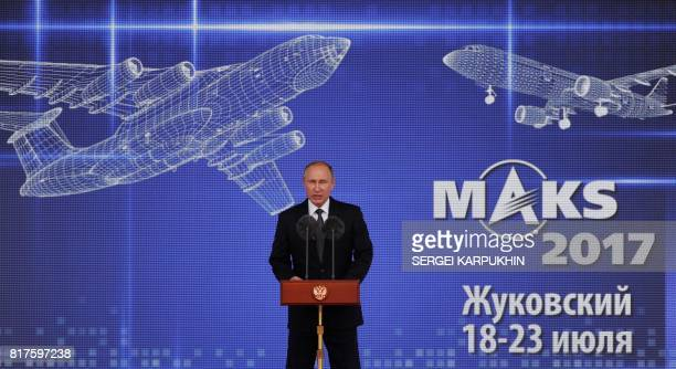 Russian President Vladimir Putin delivers his speech during the opening ceremony of the MAKS 2017 air show in Zhukovsky outside Moscow on July 18...