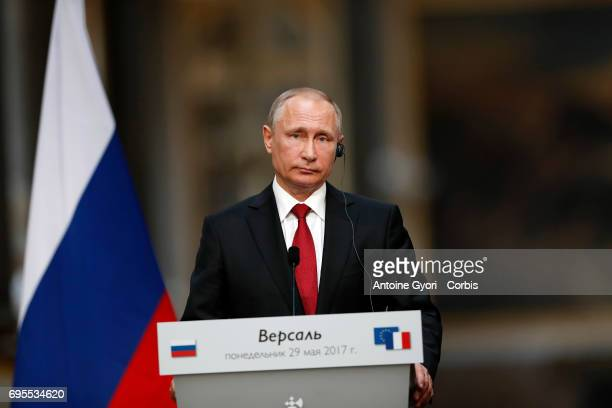 Russian President Vladimir Putin during a joint press with French President Emmanuel Macron at 'Chateau de Versailles' on May 29 2017 in Versailles...