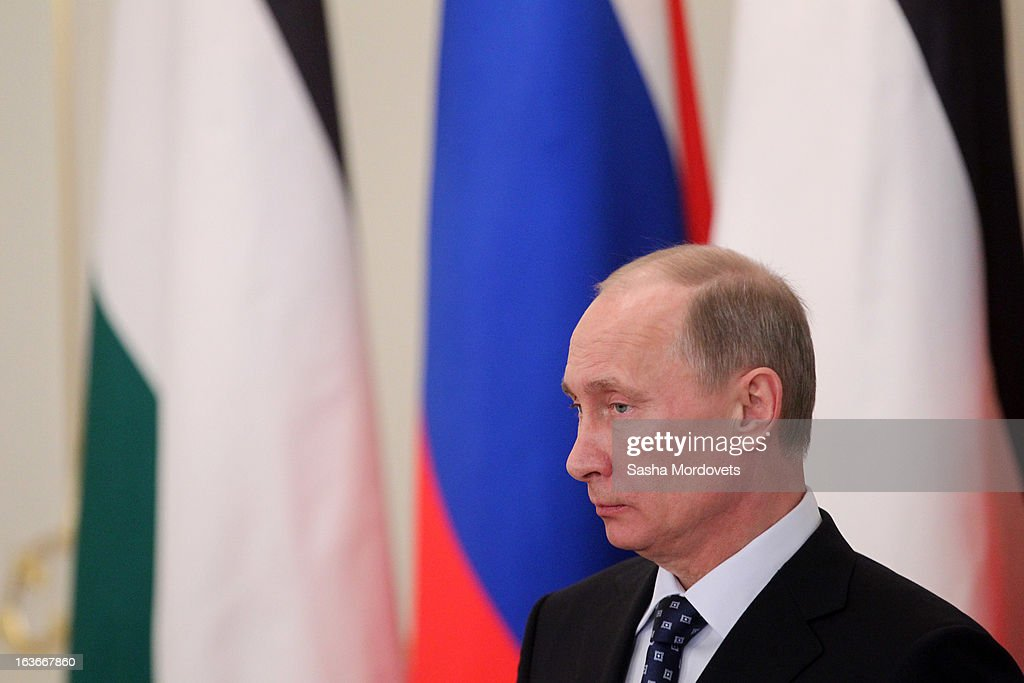 Russian President <a gi-track='captionPersonalityLinkClicked' href=/galleries/search?phrase=Vladimir+Putin&family=editorial&specificpeople=154896 ng-click='$event.stopPropagation()'>Vladimir Putin</a> during a meeting with Palestinian President Mahmoud Abbas on March 14, 2013 in Moscow, Russia. President Abbas will spend 2 days in Russia to discuss talks between Palestine and Israel and other international issues.