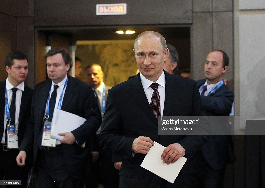 Russian President <a gi-track='captionPersonalityLinkClicked' href=/galleries/search?phrase=Vladimir+Putin&family=editorial&specificpeople=154896 ng-click='$event.stopPropagation()'>Vladimir Putin</a> during an awards ceremony for Russian Olympic athletes on February 24, 2014 in Sochi, Russia. Russian President <a gi-track='captionPersonalityLinkClicked' href=/galleries/search?phrase=Vladimir+Putin&family=editorial&specificpeople=154896 ng-click='$event.stopPropagation()'>Vladimir Putin</a> presented awards to members of the Russian Olympic team a day after the closing ceremony of the 2014 Winter Olympics, in which Russia topped the medals table with 13 gold, 11 silver and 9 bronze medals.