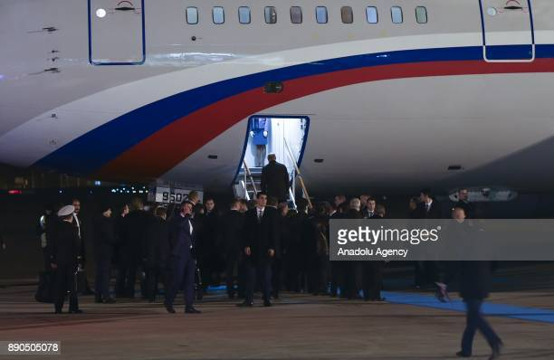 Russian President Vladimir Putin enters plane to depart the country after his meeting with President of Turkey Recep Tayyip Erdogan in Ankara Turkey...