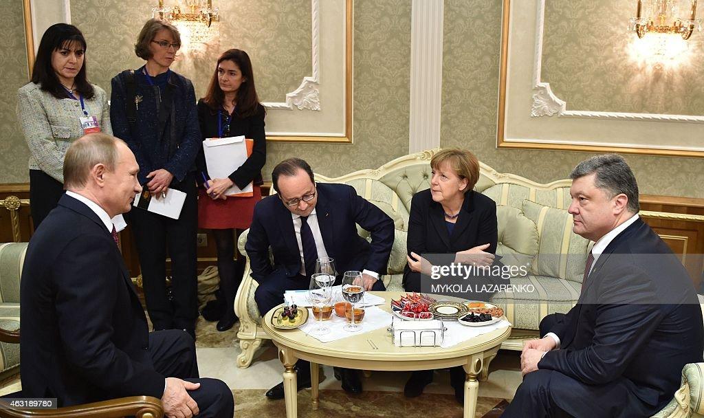 Russian President Vladimir Putin France's President Francois Hollande German Chancellor Angela Merkel and Ukrainian President Petro Poroshenko attend...