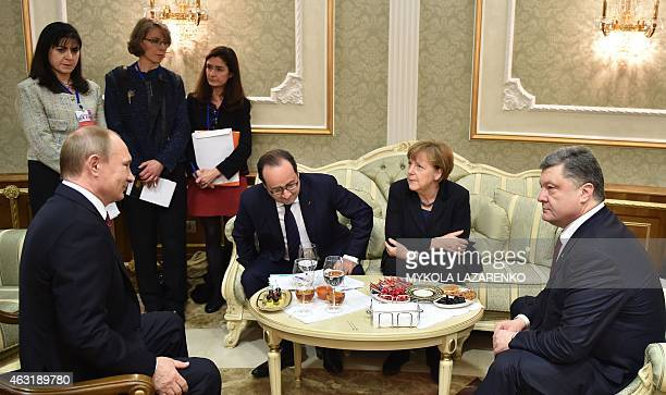 Russian President Vladimir Putin France's President Francois Hollande German Chancellor Angela Merkel and Ukrainian President Petro Poroshenko attend...