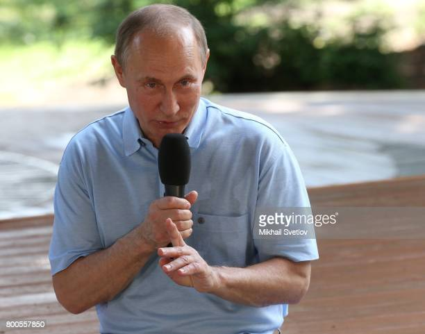 Russian President Vladimir Putin gestures during his meeting at Artek camp an international children center on the Black Sea on June 24 2017 in...