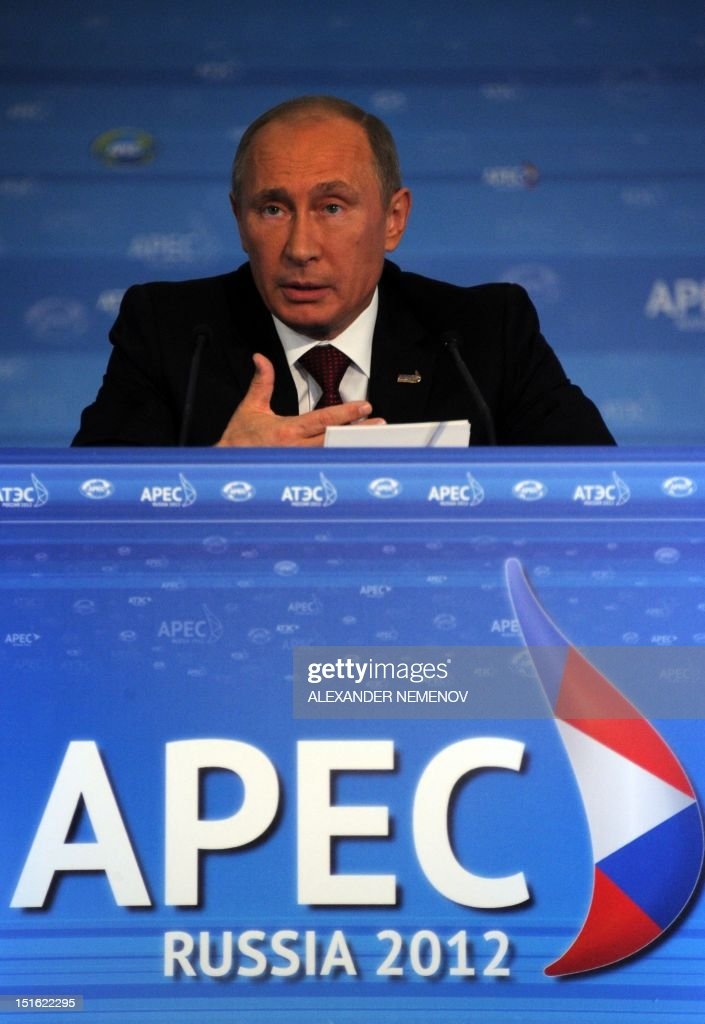 Russian President Vladimir Putin gives a press conference at the end of the Asian-Pacific Economic Cooperation (APEC) Summit in Vladivostok on September 9, 2012. Asia-Pacific leaders will vow to fight protectionism in an effort to defend the stuttering global economy from the eurozone crisis and multiple other threats.