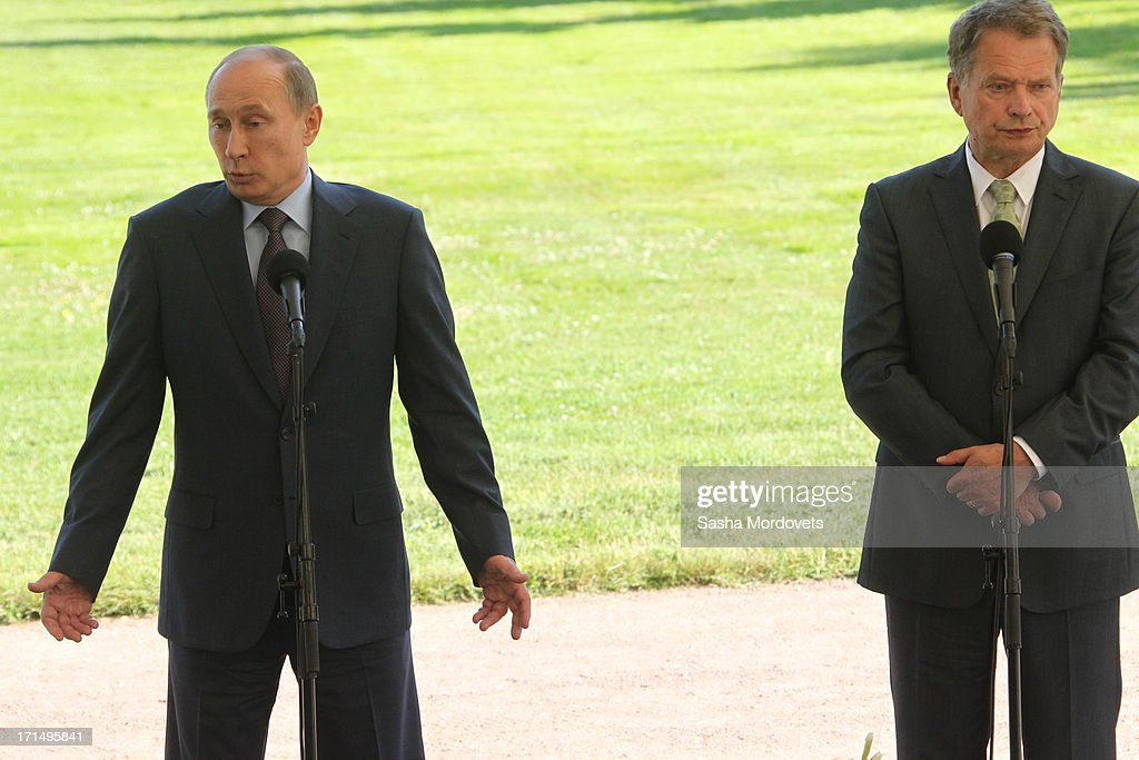 Russian President <a gi-track='captionPersonalityLinkClicked' href=/galleries/search?phrase=Vladimir+Putin&family=editorial&specificpeople=154896 ng-click='$event.stopPropagation()'>Vladimir Putin</a> (L) gives a press conference with Finland President Sauli Niinisto (R) at Niinisto's summer residence Kultaranta June 25, 2013 in Naantali, Finland. Putin is having a one-day visit to Finland.