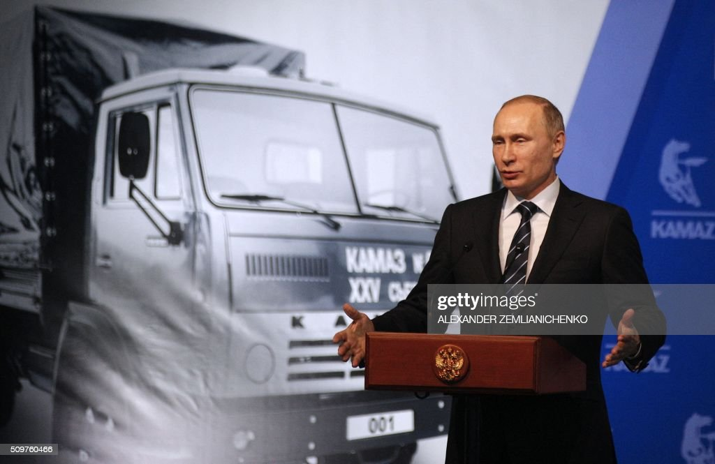 Russian President Vladimir Putin gives a speech at a ceremony marking 40 years since the launch of the production of KAMAZ trucks at the KamAZ vehicle plant in Naberezhnye Chelny, in the Russia's region of Tatarstan, about 700 kilometers (450 miles) east of Moscow, on February 12, 2016. AFP PHOTO / POOL / ALEXANDER ZEMLIANICHENKO / AFP / POOL / ALEXANDER ZEMLIANICHENKO