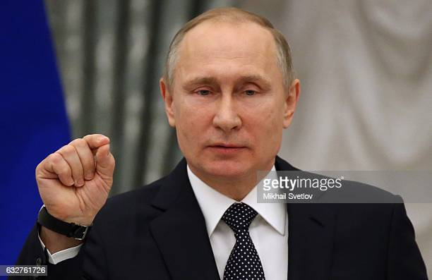 Russian President Vladimir Putin gives a speech during an award ceremony at St Catherine Hall of the Kremlin January 26 2017 in Moscow Russia Putin...
