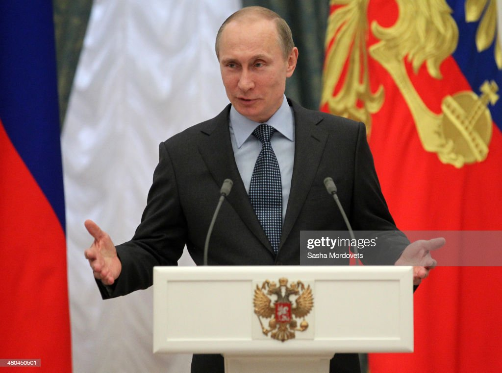 Russian President Vladimir Putin gives a speech during an award ceremony in the Kremlin on March 25, 2014 in Moscow, Russia. Putin awarded a group of Russian writers and artists.