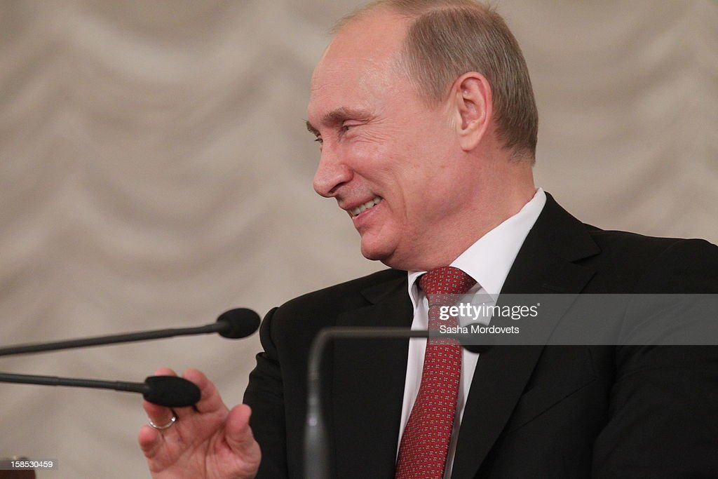 Russian President <a gi-track='captionPersonalityLinkClicked' href=/galleries/search?phrase=Vladimir+Putin&family=editorial&specificpeople=154896 ng-click='$event.stopPropagation()'>Vladimir Putin</a> gives a speech during the all-Russia congress of judges on December 18, 2012in Moscow, Russia. In his speech Putin he reminded the participants that courts are very important state institutions and cautioned judges against mistakes, bureaucratic self-conceit and bribery.