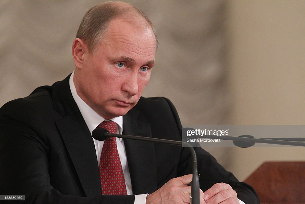 Russian President Vladimir Putin gives a speech during the all-Russia congress of judges on December 18, 2012in Moscow, Russia. In his speech Putin he reminded the participants that courts are very important state institutions and cautioned judges against mistakes, bureaucratic self-conceit and bribery.