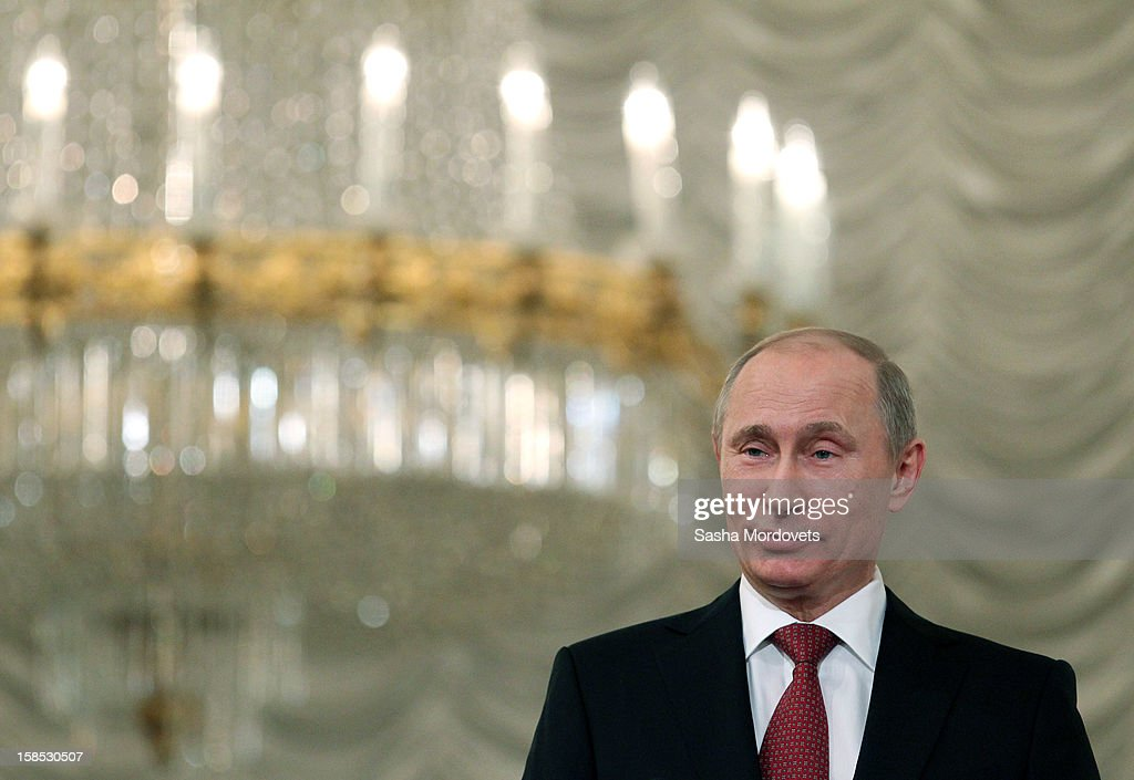 Russian President <a gi-track='captionPersonalityLinkClicked' href=/galleries/search?phrase=Vladimir+Putin&family=editorial&specificpeople=154896 ng-click='$event.stopPropagation()'>Vladimir Putin</a> gives a speech during the all-Russia congress of judges on December 18, 2012 in Moscow, Russia. In his speech Putin reminded participants that courts are very important state institutions and cautioned judges against mistakes, bureaucratic self-conceit and bribery.