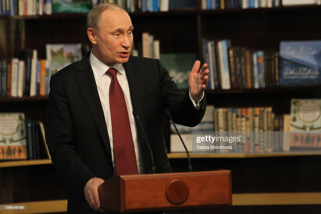 Russian President <a gi-track='captionPersonalityLinkClicked' href=/galleries/search?phrase=Vladimir+Putin&family=editorial&specificpeople=154896 ng-click='$event.stopPropagation()'>Vladimir Putin</a> gives a speech during the opening of the Russia Geographical Society new headquarters on January 15, 2013 in Moscow, Russia. President <a gi-track='captionPersonalityLinkClicked' href=/galleries/search?phrase=Vladimir+Putin&family=editorial&specificpeople=154896 ng-click='$event.stopPropagation()'>Vladimir Putin</a> also took part in the ceremony on Tuesday.