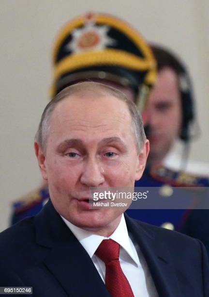Russian President Vladimir Putin gives a speech during the state awards ceremony at the Grand Kremlin Palace on June 12 2017 in Moscow Russia Russian...