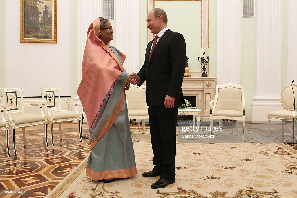 Russian President <a gi-track='captionPersonalityLinkClicked' href=/galleries/search?phrase=Vladimir+Putin&family=editorial&specificpeople=154896 ng-click='$event.stopPropagation()'>Vladimir Putin</a> (R) greets Bangladesh's Prime Minister Sheikh Hasina (L) during their meeting at the Kremlin, on January 15, 2013 in Moscow, Russia. During Hasina's three day state visit to Russia she will sign defence and nuclear energy agreements, including a deal to help fund construction of Bangladesh's first nuclear power plant.