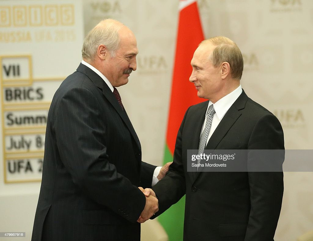 Russian President <a gi-track='captionPersonalityLinkClicked' href=/galleries/search?phrase=Vladimir+Putin&family=editorial&specificpeople=154896 ng-click='$event.stopPropagation()'>Vladimir Putin</a> (R) greets Belarussian President <a gi-track='captionPersonalityLinkClicked' href=/galleries/search?phrase=Alexander+Lukashenko&family=editorial&specificpeople=542572 ng-click='$event.stopPropagation()'>Alexander Lukashenko</a> (L) during their bilateral meeting at the BRICS 2015 Summit on July 8, 2015 in Ufa, Russia. Leaders of China, Russia, Brasil, India and South Africa have arrived to Ufa to attend the BRICS 2015 Summit.