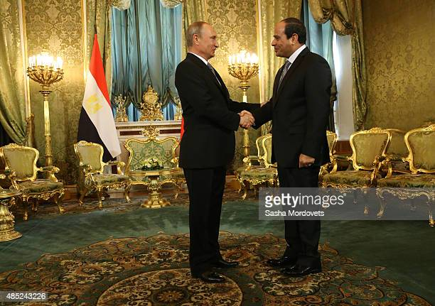 Russian President Vladimir Putin greets Egyptian President Abdel Fattah ElSisi during their talks in the Grand Kremlin Palace on August 26 2015 in...