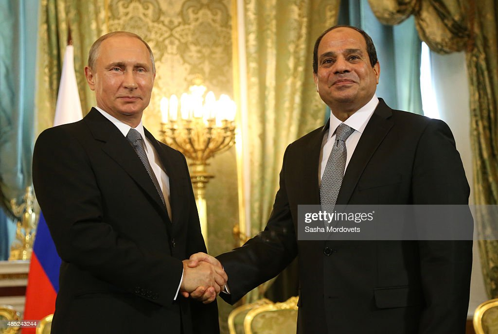 Russian President <a gi-track='captionPersonalityLinkClicked' href=/galleries/search?phrase=Vladimir+Putin&family=editorial&specificpeople=154896 ng-click='$event.stopPropagation()'>Vladimir Putin</a> (L) greets Egyptian President Abdel Fattah El-Sisi (R) during their talks in the Grand Kremlin Palace on August 26, 2015 in Moscow, Russia. The Egyptian President is on a three-day state visit to Russia, his third official visit since taking office.