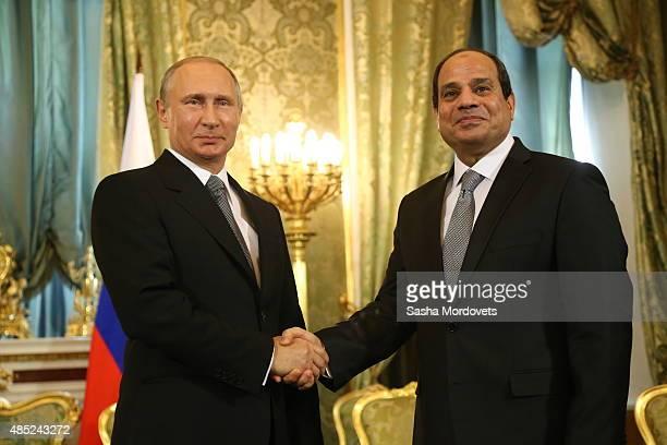Russian President Vladimir Putin greets Egyptian President Abdel Fattah ElSisi during their talks in the Grand Kremlin Palace on August 26 2015 in...