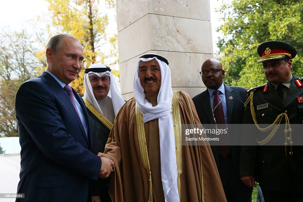 Russian President Vladimir Putin (L) greets Emir of Kuwait <a gi-track='captionPersonalityLinkClicked' href=/galleries/search?phrase=Sabah+Al-Ahmad+Al-Jaber+Al-Sabah&family=editorial&specificpeople=5573991 ng-click='$event.stopPropagation()'>Sabah Al-Ahmad Al-Jaber Al-Sabah</a> (C) in Bocharov Ruchey State Residence on November 10, 2015, in Sochi, Russia. Sheikh <a gi-track='captionPersonalityLinkClicked' href=/galleries/search?phrase=Sabah+Al-Ahmad+Al-Jaber+Al-Sabah&family=editorial&specificpeople=5573991 ng-click='$event.stopPropagation()'>Sabah Al-Ahmad Al-Jaber Al-Sabah</a> is on a three day state visit to Russia, to discuss bilateral ties and the developing issues in the middle east.