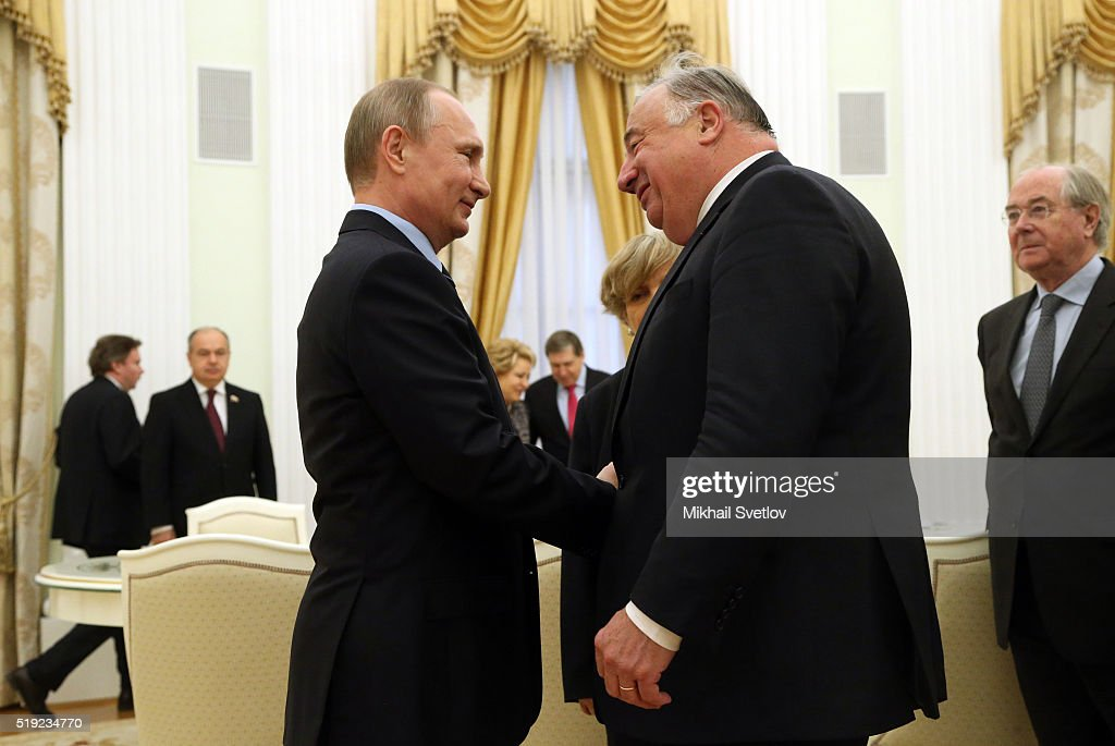 Russian President <a gi-track='captionPersonalityLinkClicked' href=/galleries/search?phrase=Vladimir+Putin&family=editorial&specificpeople=154896 ng-click='$event.stopPropagation()'>Vladimir Putin</a> (L) greets French Senate President Gerard Larcher (R) during their meeting in the Kremlin on April 5, 2016 in Moscow, Russia. Larcher is on a visit for bilateral meetings with Russian leaders.