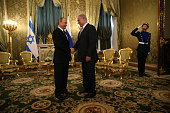 Russian President Vladimir Putin greets Israeli Prime Minister Benjamin Netanyahu at the Grand Kremlin Palace on June 7 2016 in Moscow Russia In...