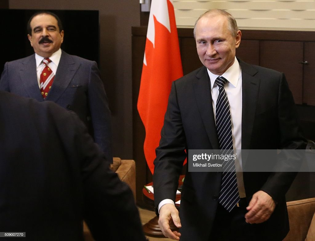 Russian President Vladimir Putin (R) greets King of Bahrain Hamad bin Isa bin Salman Al Khalifa (L) in Bicharov Ruchey State Residence in Sochi, Russia, on February, 8, 2016. Bahrain's King is having a one-day visit to Black Sea resort of Sochi.