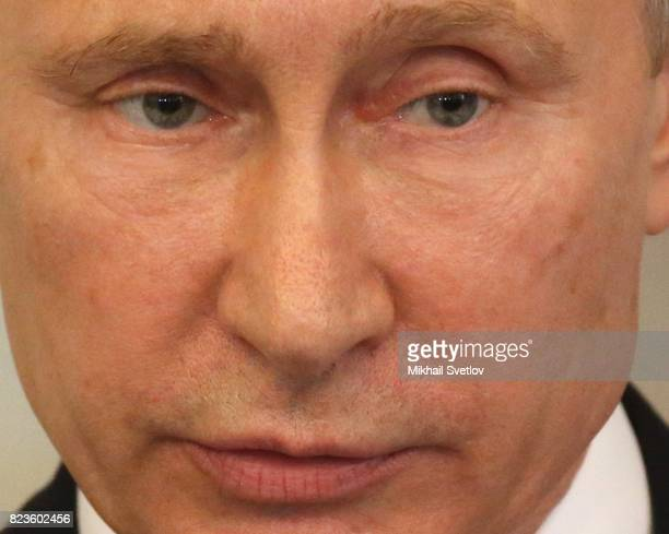 Russian President Vladimir Putin holds a joint press conference with Finland's President Sauli Niinisto July 27 2017 in Savonlinna Finland Putin is...