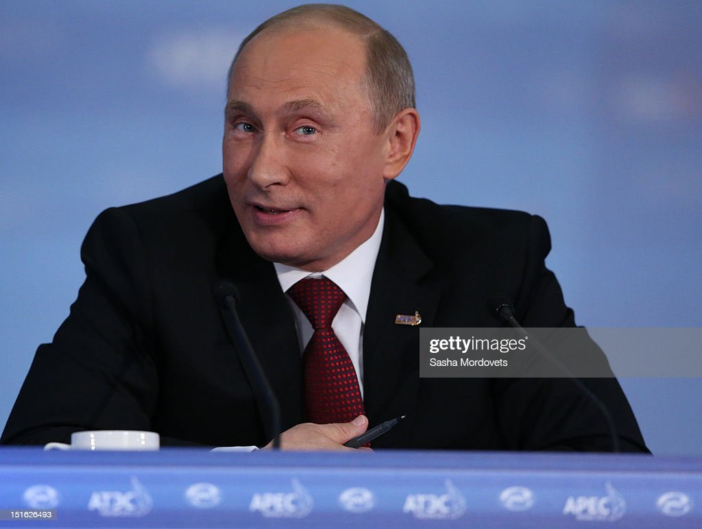 Russian President Vladimir Putin holds his final press conference after a session of the Asian Pacific Economic Cooperation (APEC) Summit September 9, 2012 in Vladivostok, Russia. Leaders of APEC countries are gathered at Russky Island in Vladivostok to seek freer trade among member nations.