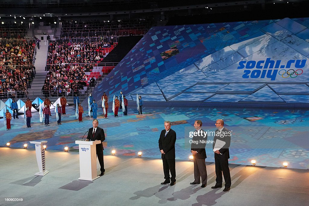 Russian president Vladimir Putin, IOC president Jacques Rogge, IOC Member Jean-Claude Killy and president, ANO 'Organizing Committee 'Sochi 2014' Dmitry Chernyshenko attend performance of Sochi 2014 - One Year To Go on Feb.7, 2013 in 'Bolshoi' Ice Dome in Sochi, Russia.