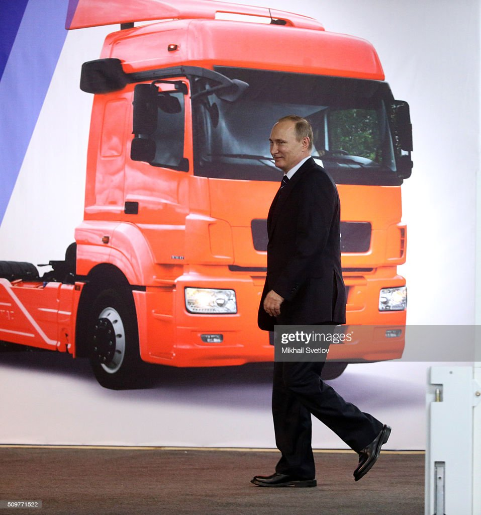 Russian President <a gi-track='captionPersonalityLinkClicked' href=/galleries/search?phrase=Vladimir+Putin&family=editorial&specificpeople=154896 ng-click='$event.stopPropagation()'>Vladimir Putin</a> is arriving to the meeting at the Kamaz automobile plant on February 12, 2016 in Naberezhnye Chelny, Russia. Putin visited Kamaz, a Russian truck manufacturer, to mark 40 years since the start of production.