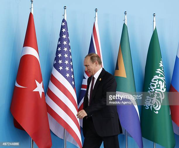 Russian President Vladimir Putin is seen after the 'Welcoming Ceremony' prior to the G20 Turkey Leaders Summit on November 15 2015 in Antalya Turkey