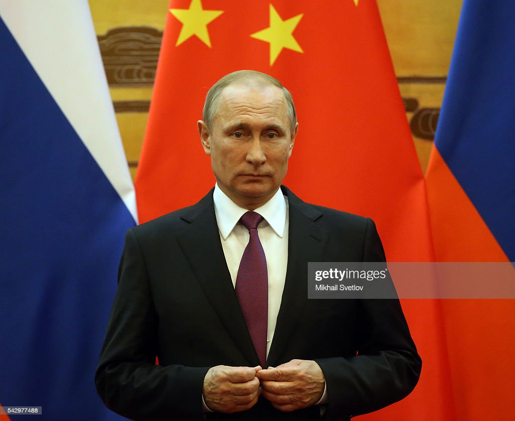 Russian President Vladimir Putin is seen during his meeting with Chinese President Xi Jinping (not pictured) in June 25, 2016 in Beijing, China. Vladimir Putin is having a state visit to China.