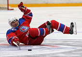Russian President Vladimir Putin is seen during the match of the Night Hockey League in Sochi Russia May2016 Putin attended a hockey match with NHL...