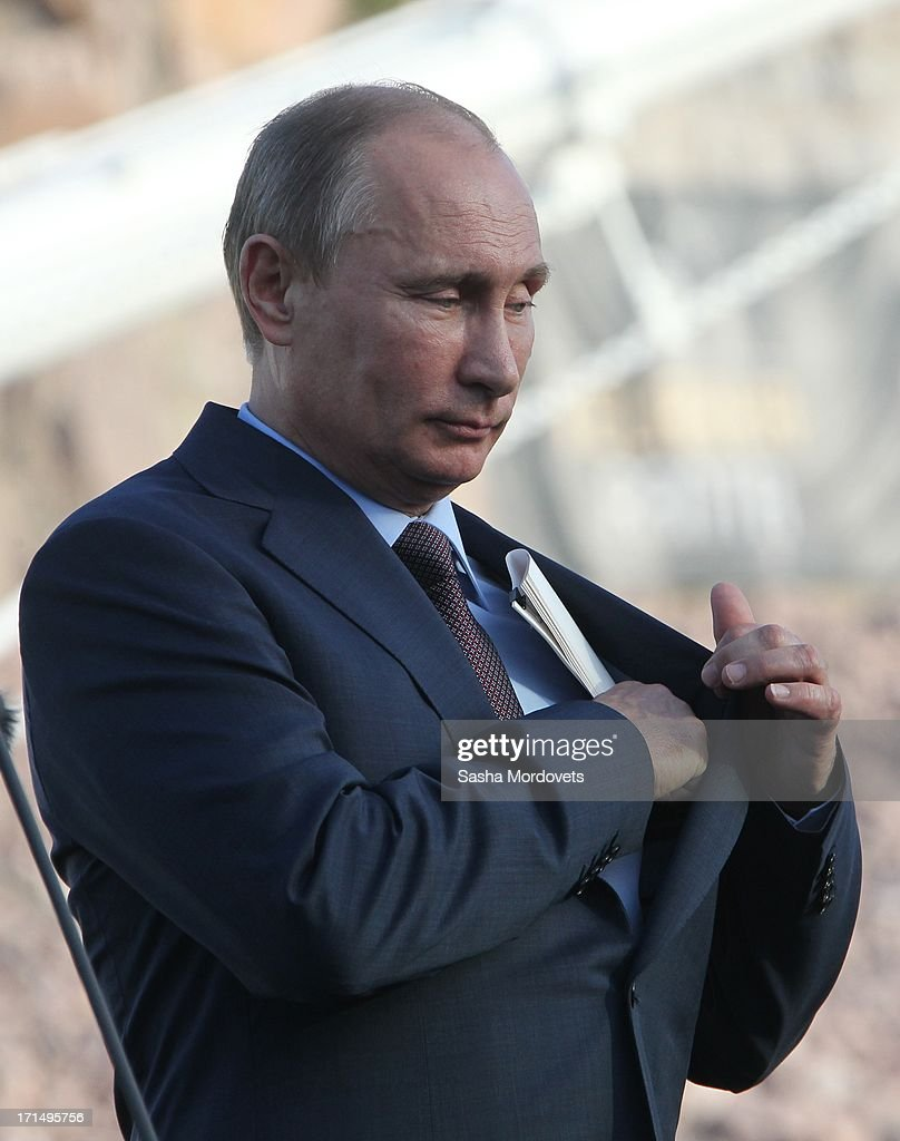 Russian President <a gi-track='captionPersonalityLinkClicked' href=/galleries/search?phrase=Vladimir+Putin&family=editorial&specificpeople=154896 ng-click='$event.stopPropagation()'>Vladimir Putin</a> is seen June 25, 2013 in Turku, Finland. During a one-day visit to Finland, Putin said National Security Agency leaker Edward Snowden is free to travel wherever he wants and has rejected please to turn him in.