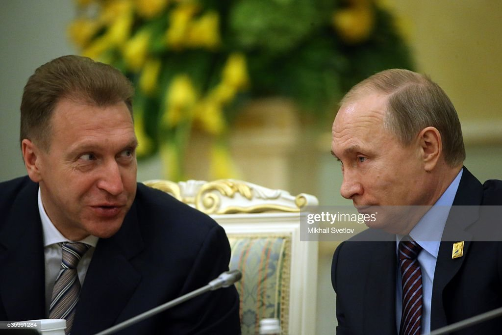 ASTANA, KAZAKHSTAN - MAY, 31 (RUSSIA OUT) Russian President Vladimir Putin (R) listens to First Deputy Prime Minister Igor Shuvalov (L) during the Eurasian Economic Union Summit at Akorda Palace on May 31, 2016 in Astana, Kazakhstan. Heads of the Eurasian Economic Union (EAEU) member states Russia, Belarus, Armenia, Kazakhstan and Kyrgyzstan have gathered in Astana for the summit. President Putin will also hold talks with Kazakh President Nursultan Nazarbayev.